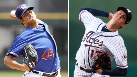 Trevor Bauer (left) and Martin Perez will return to Triple-A Reno and Round Rock, respectively.